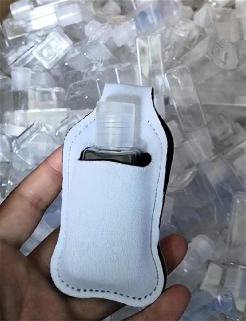 30ml Sublimazione Sublimazione Blank Neoprene Defume Bottle Portabottiglie SBR Blank Hand Sanitizer Bottle Set Bianco Profumo Bottiglia Portabottiglie Portachiavi regalo