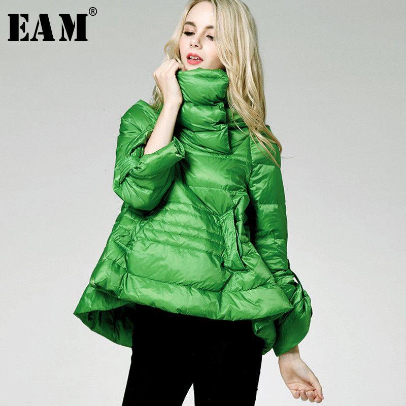 [EAM] Свободная подходит многоцветный зеленый цветной куртку Новый стенд воротник с длинным рукавом теплые женщины Parkas мода весна осень 210203