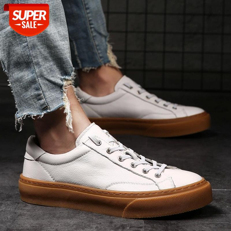 Fashion Genuine Leather Shoes Men White Loafers Breathable Cow Leather Men Casual Shoes Male Black Footwear Thick Sole KA2321 #i33h