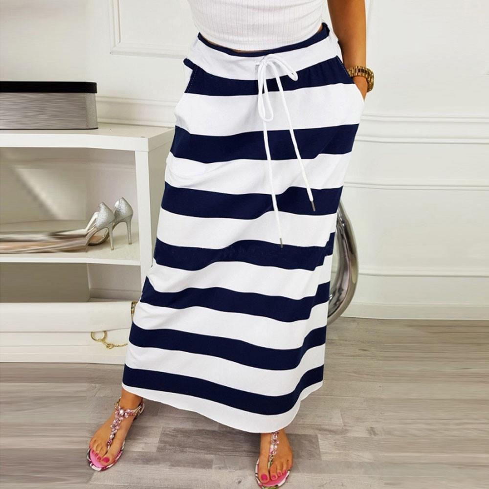 Женская модная полоса юбки Gonne Donna 2020 леди повседневная вершина талии Maxi длинная юбка Фалдас Мухеер мода SAIA FEMININA # T2G