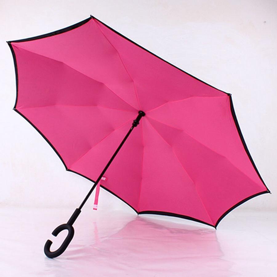 Double Layer Pongee Waterproof Reverse Folding Umbrella Creative Foldable C-type Sun Protection Portable Umbrella SEA SHIPPING CCE4319