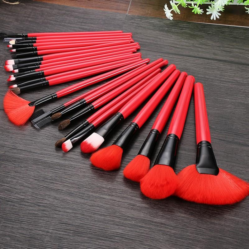 24pcs/set Red Makeup Brushes With Leather Case Soft Synthetic Hair Blush Eyeshadow Lips Make Up Brush For Beginner Brush