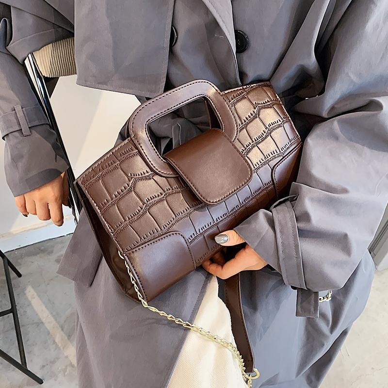 Patrón cuadrado Bolsa de asas de cuero 2020 Messenger Nuevo Bolso de alta calidad Moda de moda PU Cadena de la PU Bolso Cocodrilo Hombro Pxogm