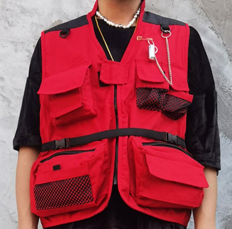 Carga Vest Jackets Mens Multi Zipper Bolsos Viagem Tactical Tactical Sem Mangas Casacos Caçando Tops Outwear Masculino