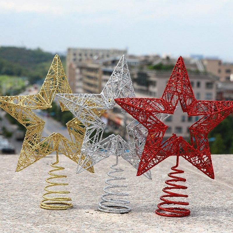 Artesanato de Natal Árvore de Natal Árvore Top Star Ferro decoração adereços oco estrela cinco pontas top1