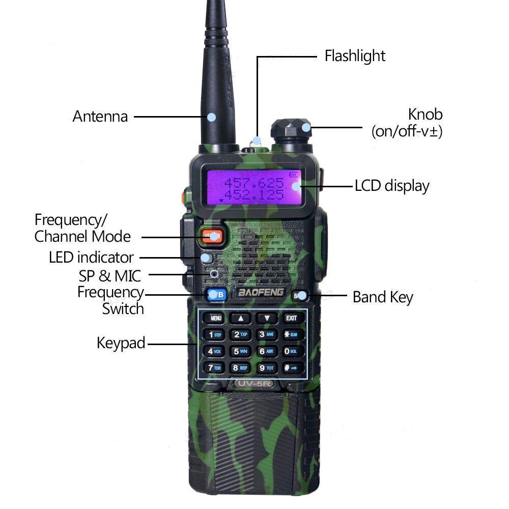 Baofeng UV-5R UHF / VHF Radio Transceiver Radio Talkie Walkie avec batterie de 3800mAh