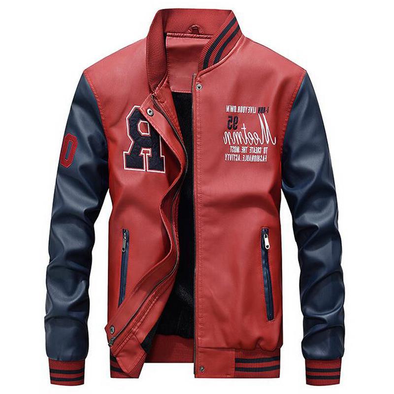 Veste Hommes Broderie Baseball Pu Manteaux Casual Slim College College Collefe Cuir Vestes Casaco Masculino