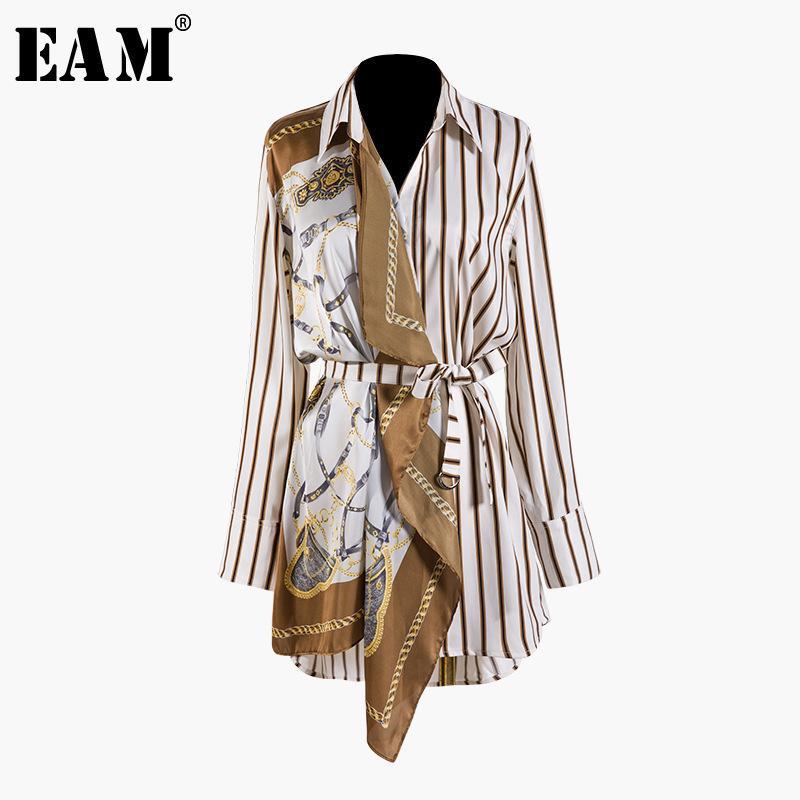 [EAM] 2020 Новая весна осень осложня с длинным рукавом полосатый рисунок разделить сустав Нерегулярный большой размер рубашка женщины блузка мода LJ200831