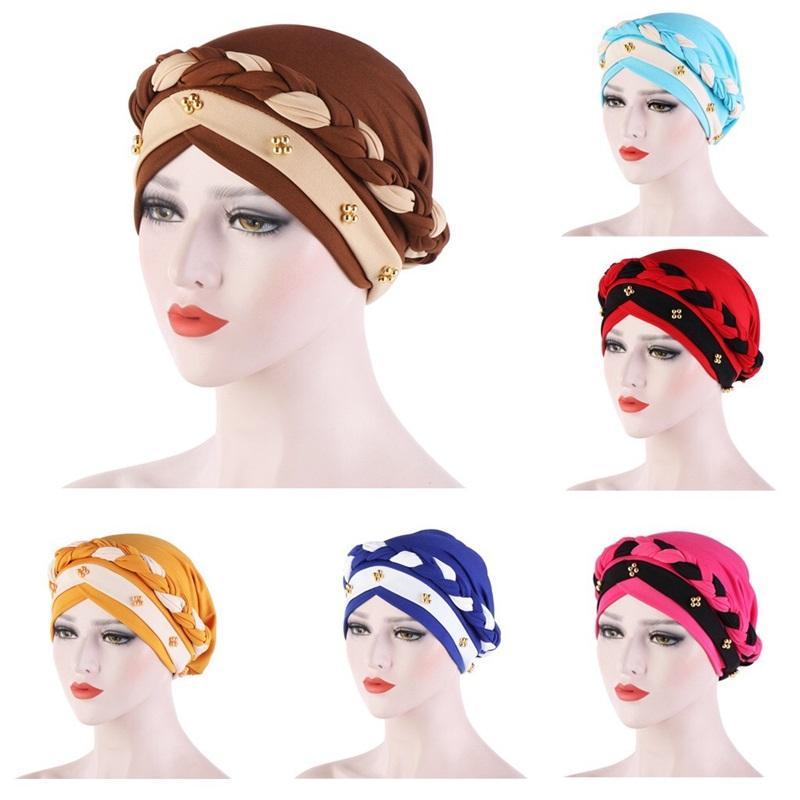 Müslüman Örgü Türban Kadın Süt Ipek Bicolor Tırnak Boncuk Şapka İlkbahar Sonbahar Bayan Kafa Wrap Şapka 9er J2