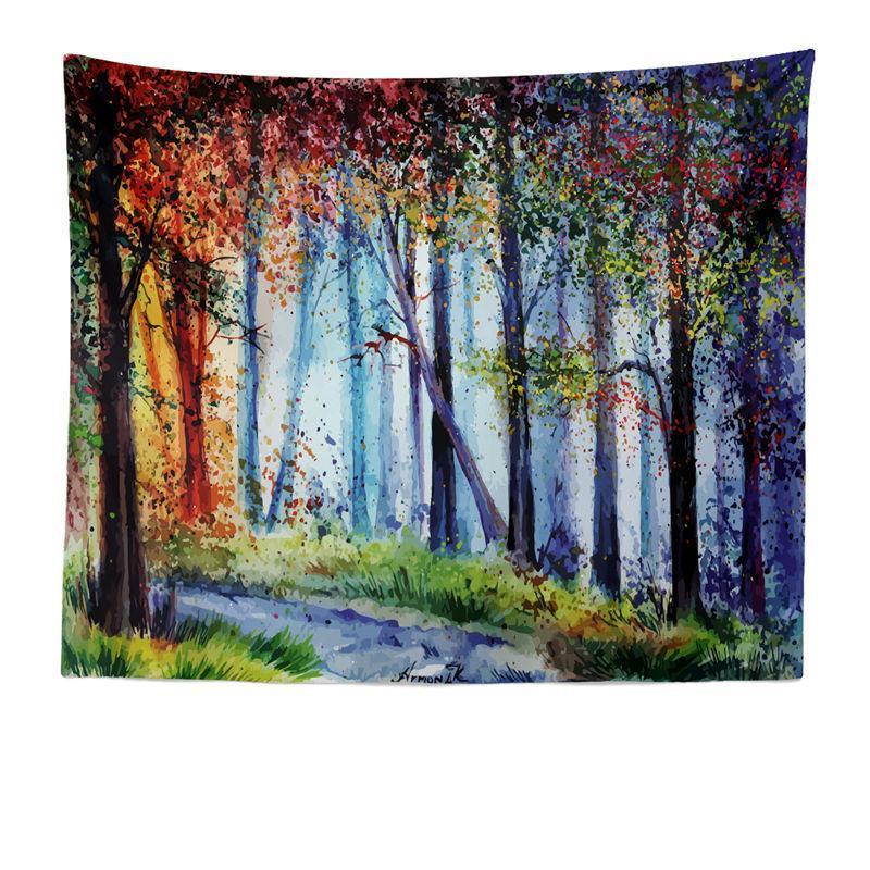Акварель лесной гобелен стены висит пляжное полотенце фон ткани висит картина декоративная скатерть