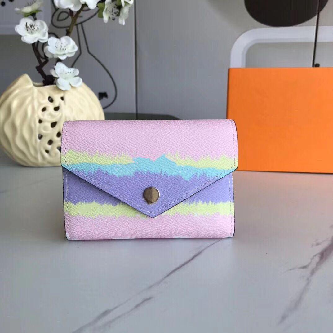2020 Taze Tasarımcı Cüzdan Hediye Kutusu Ile Kadın Yaz Escale Victorine Cüzdan Shibori Kravat Boya Zarf Tarzı Küçük Cüzdan Moda Çanta