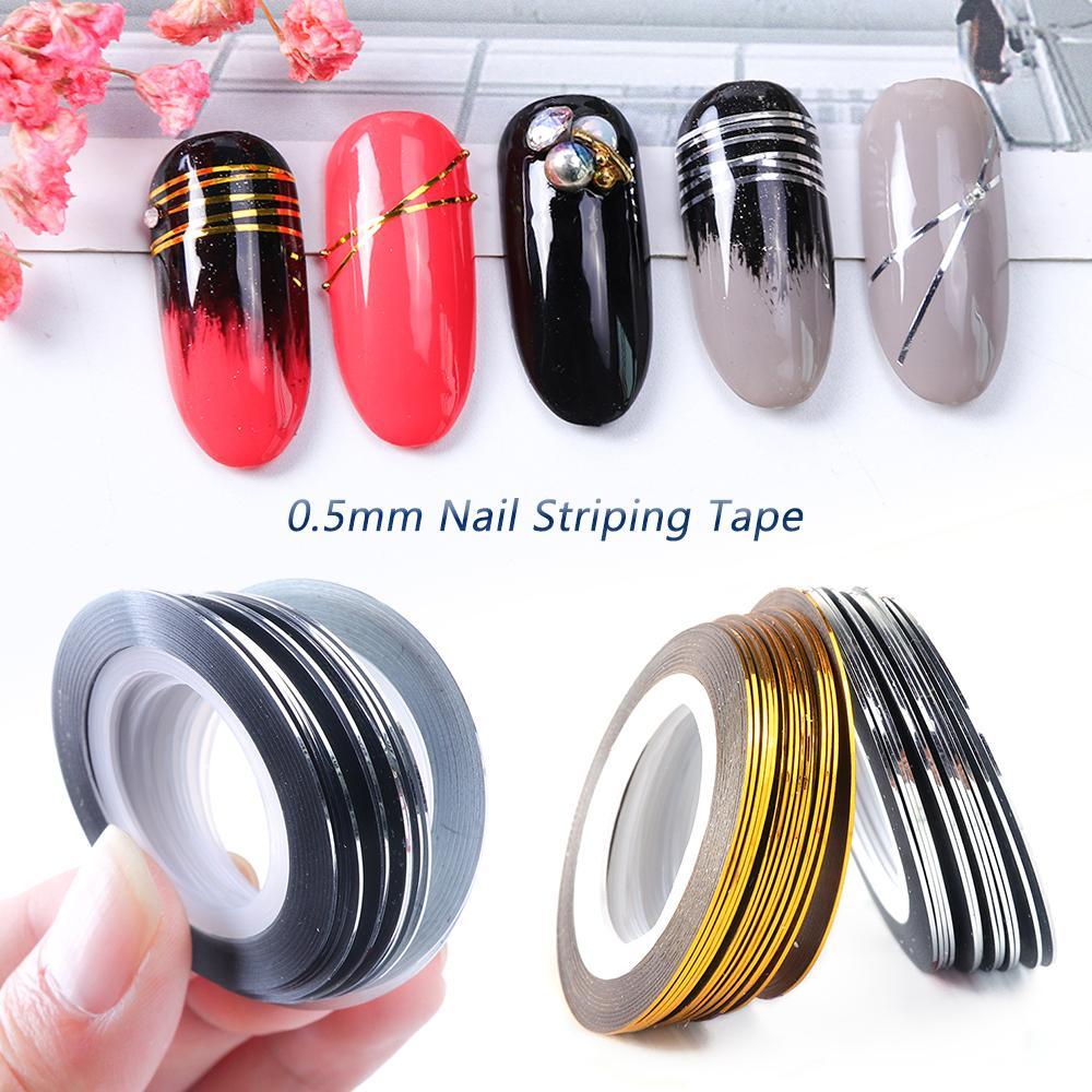 0.5mm Nail Striping Tape Line Silver Gold Láser Adhesivo Holo Holo 3D Etiqueta engomada Decoración DIY Strips Clavas de uñas Accesorios Herramienta LA1009-1