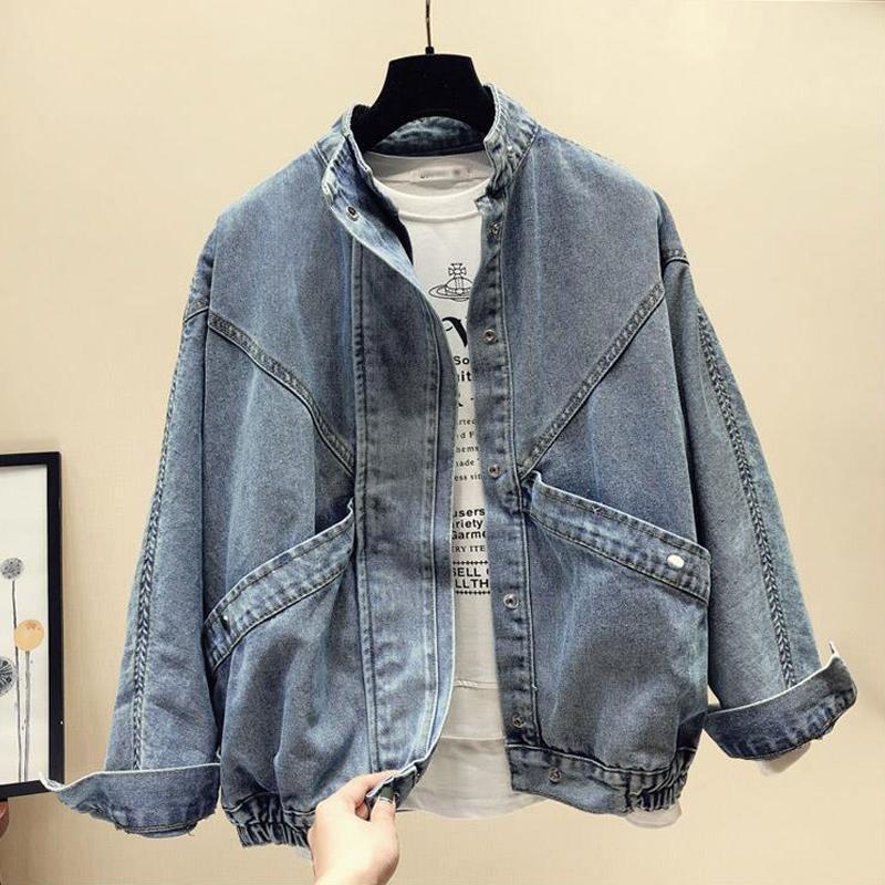 Jetones sueltos jecket estilo coreano de manga larga jean chaqueta azul bigimwear ropa exterior de la ropa de calle