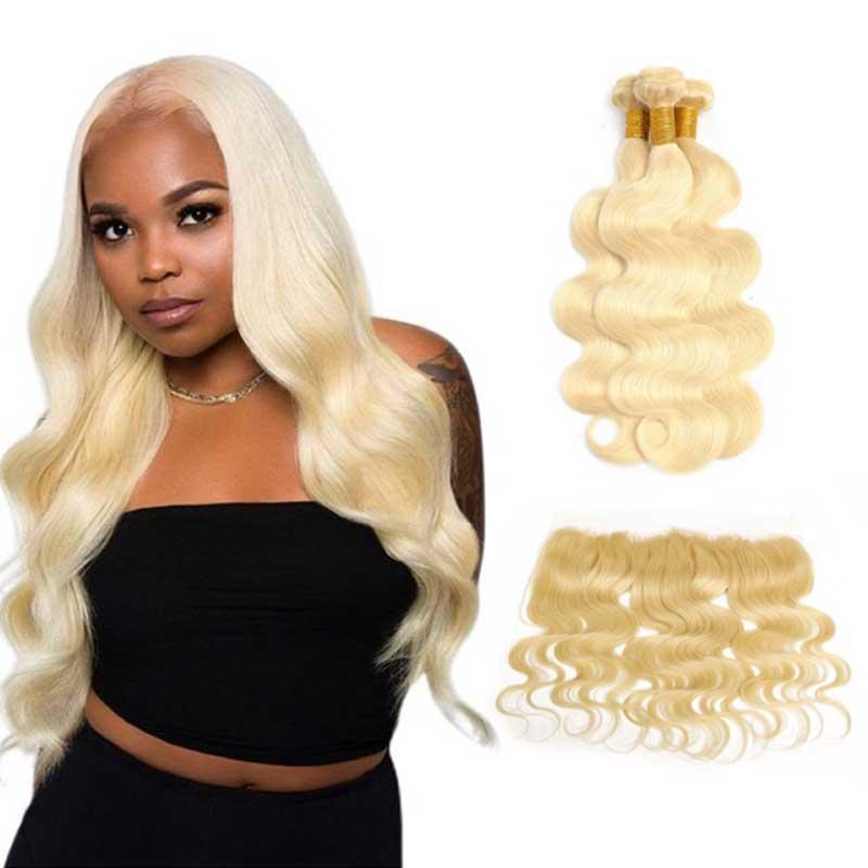 8A Body Wave 613 Blondine Brasilianische geradlinige reine Haarbündel mit Spitzenverschluss Frontal Platium Blonde Haarverlängerungen Weben mit Schließung