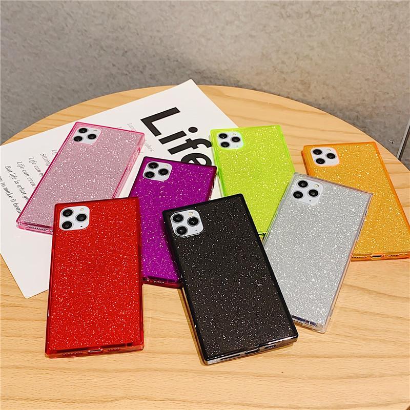 İPhone 12 Pro Max Case Kare Bling Glitter Darbeye Yumuşak TPU Telefon Kapak iphone 12 Mini XS 8 7 Artı Kılıflar