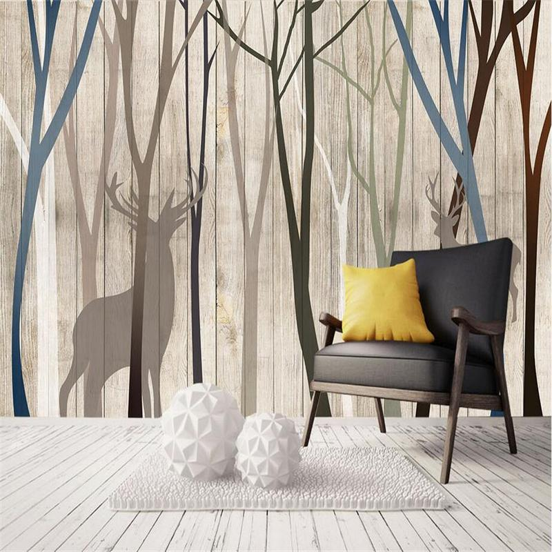 Custom 3D Murals Wall Papers Birch Photo Tree Wallpapers Bedroom Home Decor Forest Wallpapers Woods for Living Room Luxury Mural