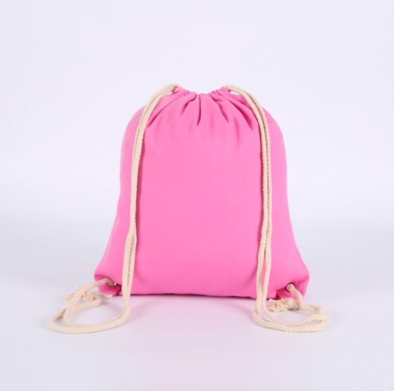 Leinwand Kordelzug Rucksack Bündel Tasche Aufbewahrungstasche Feste Farbe Outdoor Rucksack Home Faltbare Aufbewahrungstaschen FWC5839