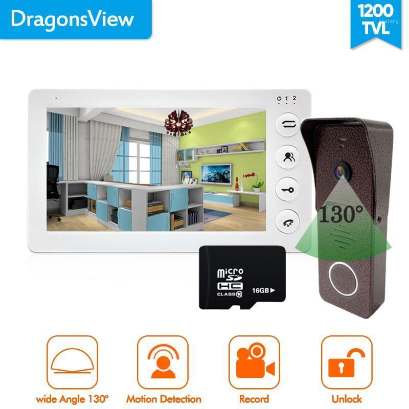 Dragonsview Video Intercom System 7 Inch Video Door Phone with Monitor and Doorbell Camera 16GB SD Card Motion Record White1