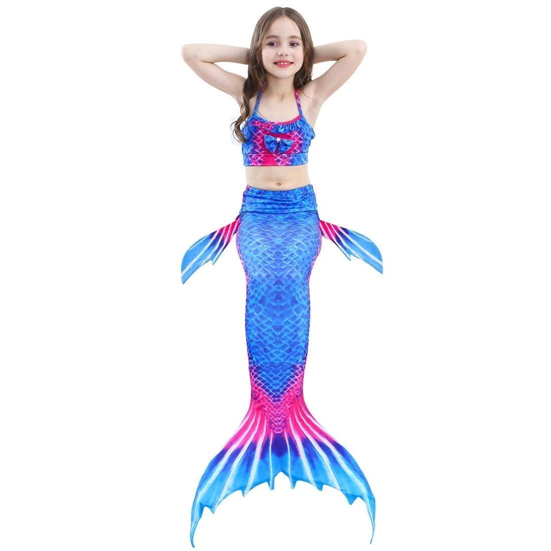 3 pcs define crianças natação sereia caudas bikini cosplay sereia swimwear tamanho 110