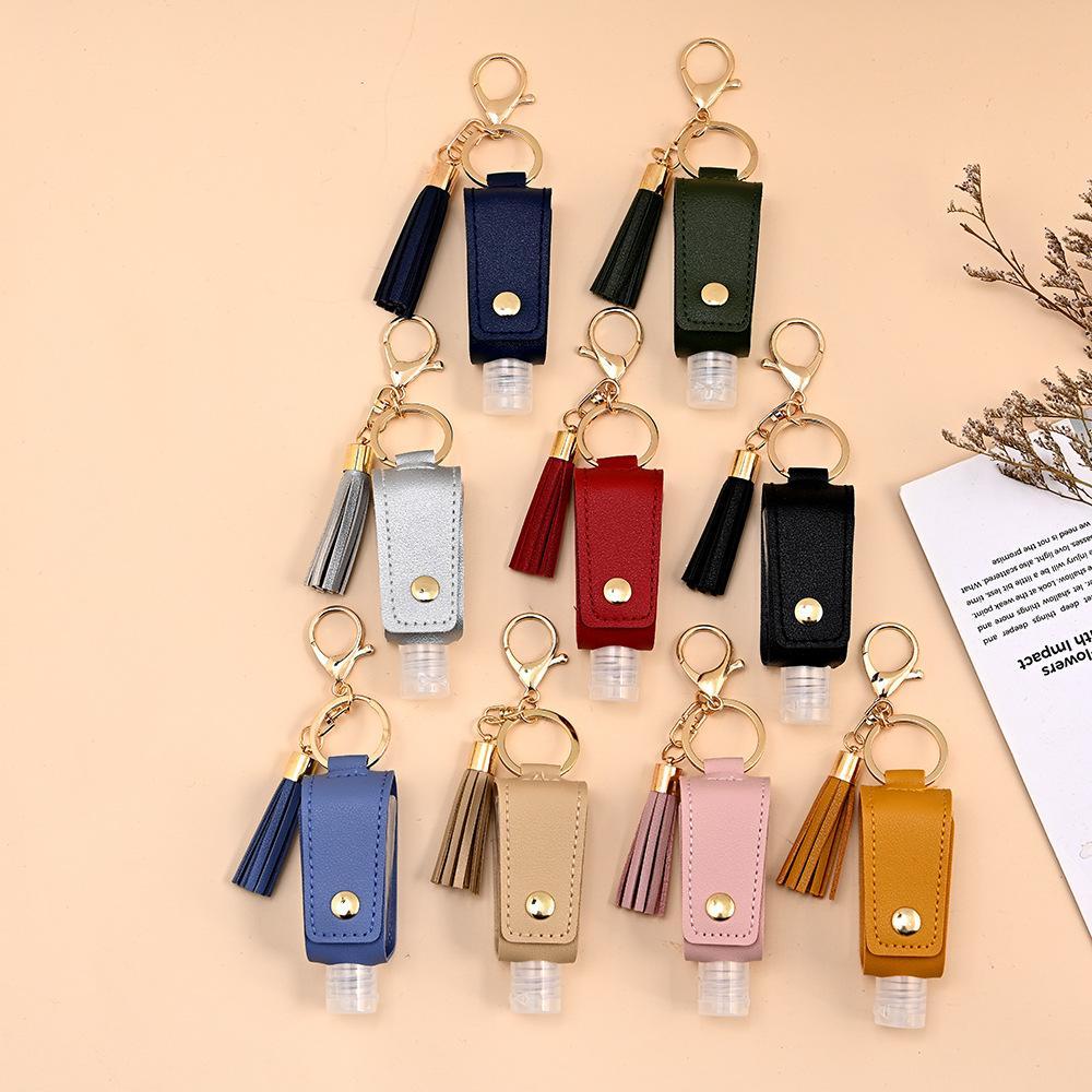 30 ملليلتر ناحية المطهر زجاجة غطاء بو الجلود الأزياء شرابة المفاتيح بروتابلي كيرينغ غطاء أكياس تخزين زجاجات تخزين زجاجات XD24252