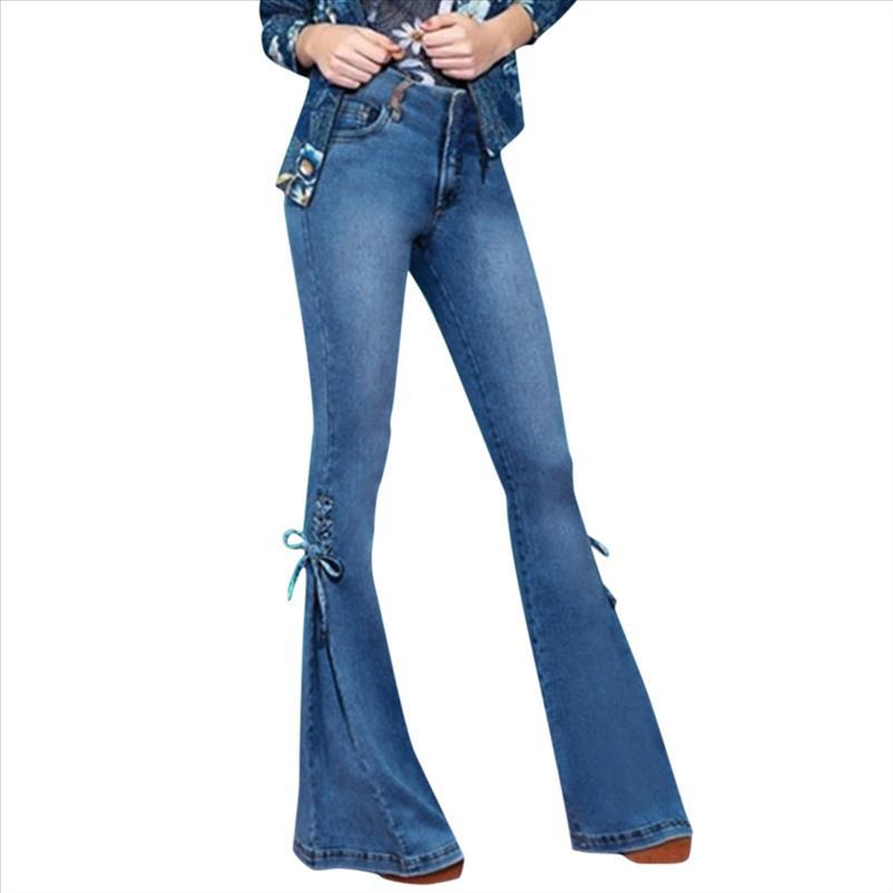 30h Donne Denim Denim Jeans Casual Slim Stretchy Bell Bell Jeans Jeans Retro Pantaloni Flare Mid Vita Pantaloni lunghi Mujer