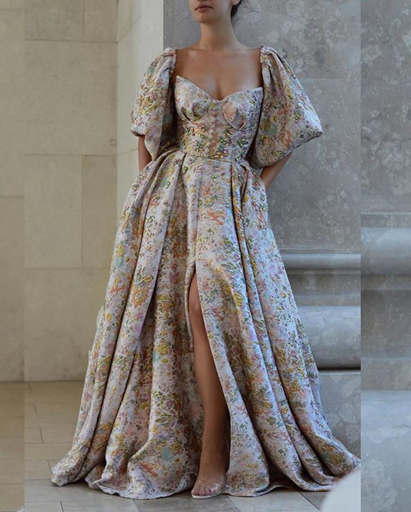 Design unique Design Sleeve Puff Robe de bal Arabe Dubaï Style Split Robe de soirée fendue J1208