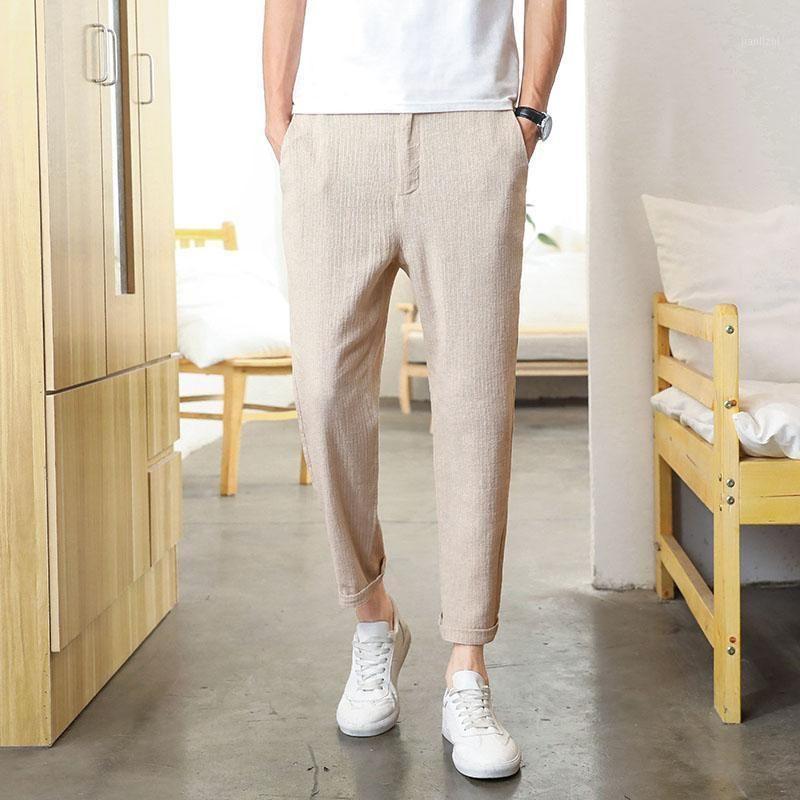 Pantalones para hombre Pantalón de algodón de lino de tobillo Hombre Harem Joggers Casual Sweetpants Hombres Pantalones para Male1