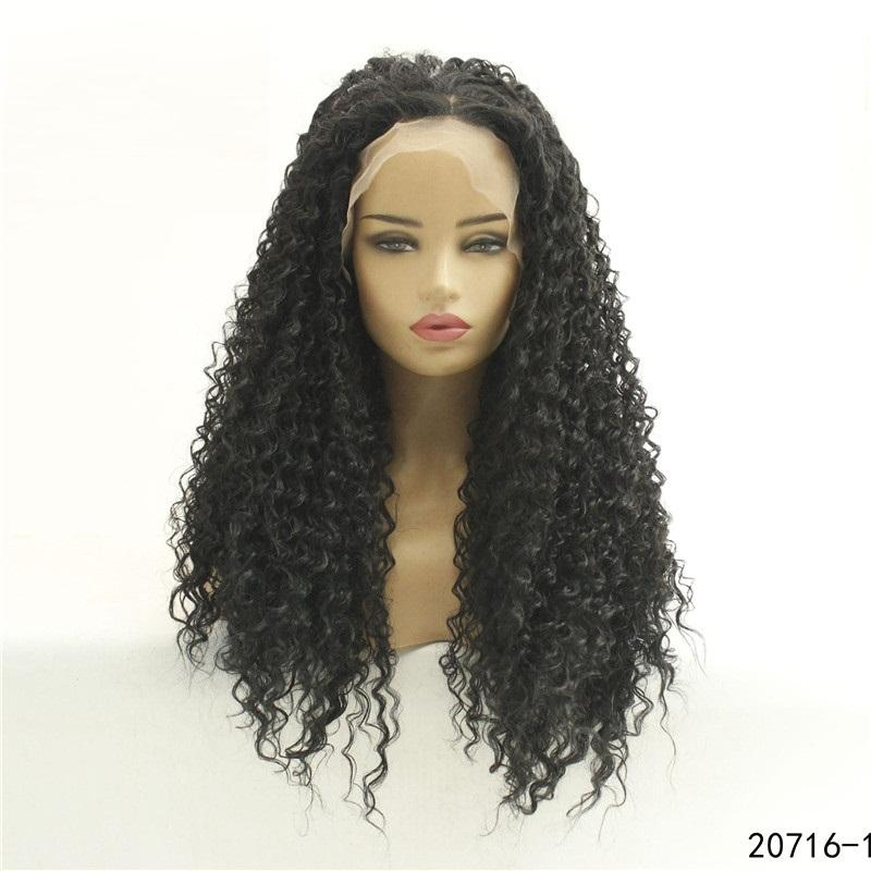 13x6 HDTransparent Lace Frontal Wig afro kinky curly Synthetic hair Simulation Human Hair Lace Front Wigs 20716-1