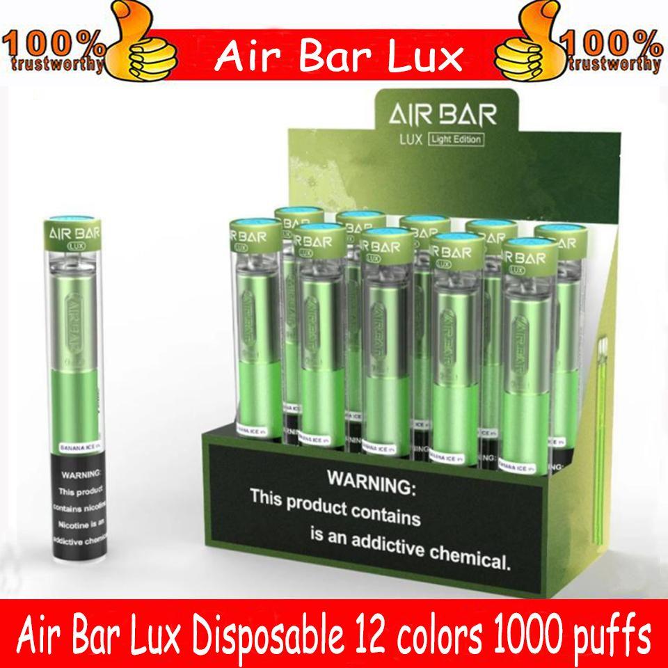 Neueste Air BAR LUX-Einweg-Gerät eingebaute 500mAh-Batterie 2.7ML VAPE-PODS 1000 Puffs DAB-Stift-Starter-Kit vs Bang XXL