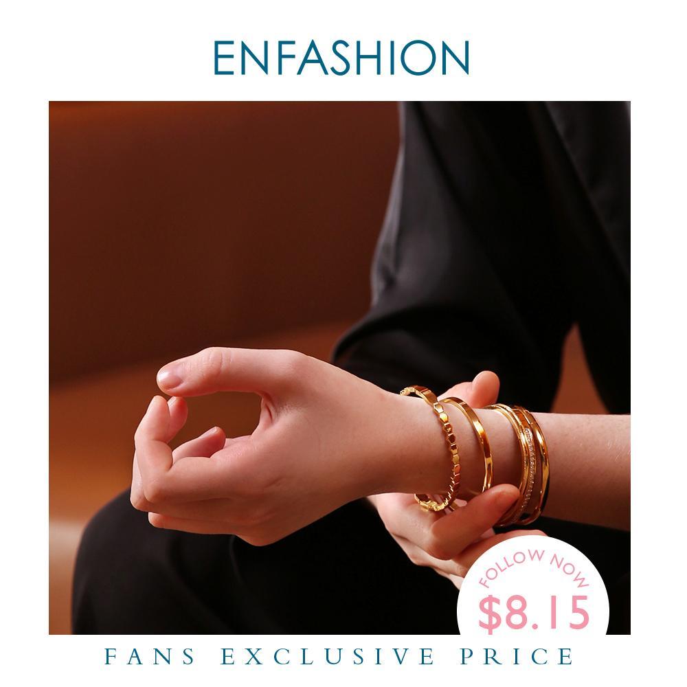 Enfashion Multilayer Manschette Armband Armreif Kristall Armreifen Gold Farbe Stapel Armbänder Armreifen Für Frauen Schmuck Großhandel 182004 Y1126
