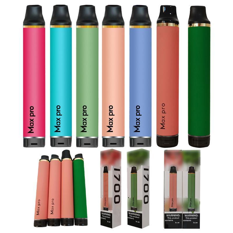 고품질 1700 퍼프 최대 Pro 일회용 vape 펜 키트 기화기 3.5ml 전자 Cig 증기 포드 베이퍼 카트리지 전자 담배