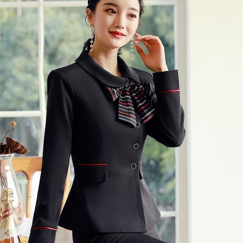 Takım elbise kadın takım elbise sonbahar moda mizaç uzun kollu güzellik salon otel catering ön büro müdürü elbise
