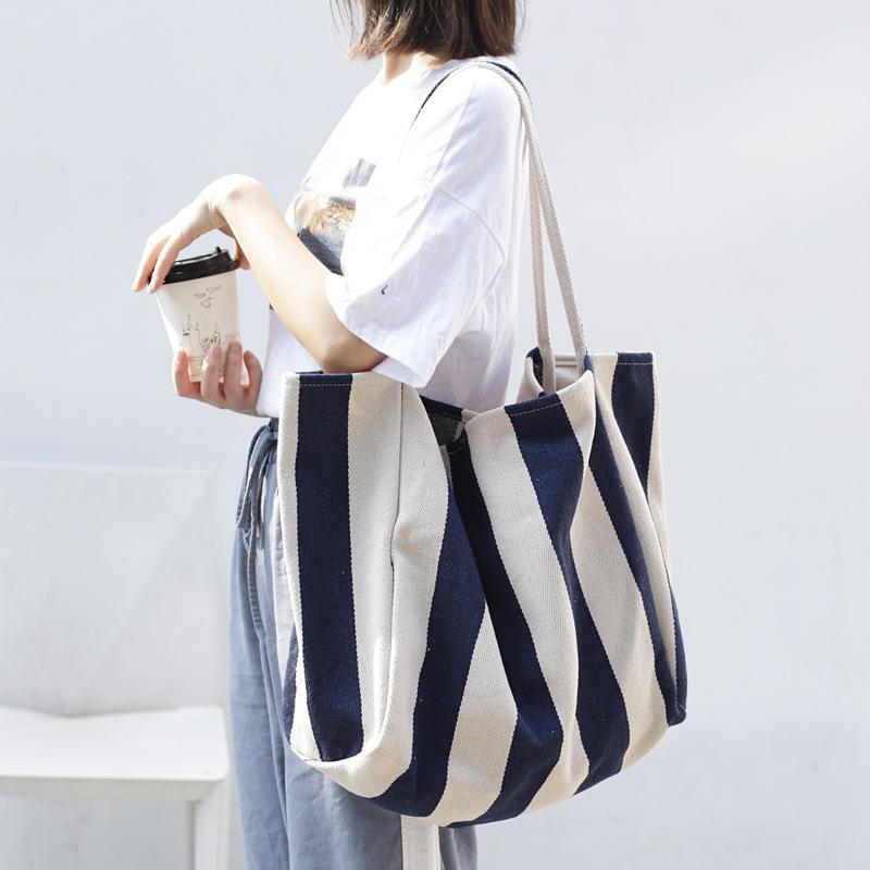 Tamara Striped Big Canvas Tote For Women Summer Beach Classical Fabric Soft Handbag Female Large Casual Top-handle Bag Q1129