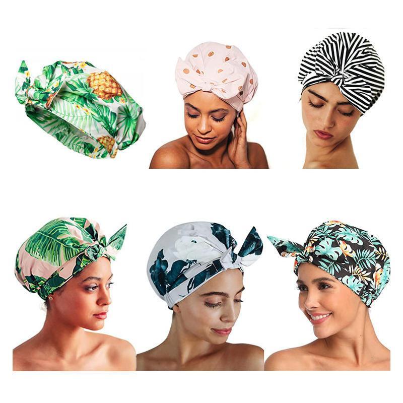Mulheres suaves reutilizáveis arco-nó à prova d 'água chuveiro lavável tampão de banho de cabelo tampões para cabelos longos