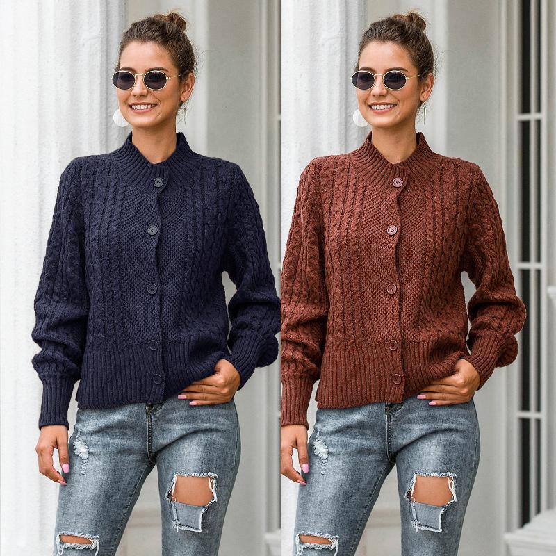Outono / inverno 2021 modelo ao ar livre tiro real casual camisola de malha cardigan meio colarinho altamente colar lanterna jaqueta de manga