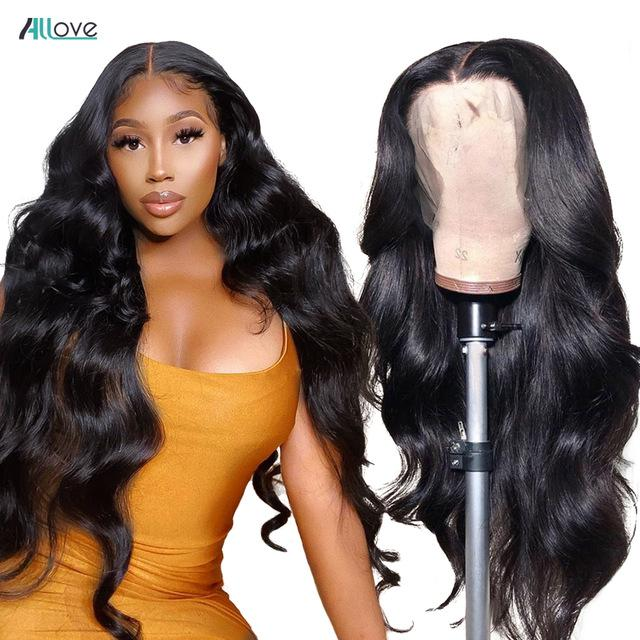 Allove Droite Head Head Hair Dentelle Front Perruques 13 * 1 Dentelle Perruques frontales Kinky Curly Dentelle Perruque Perruque de cheveux humains