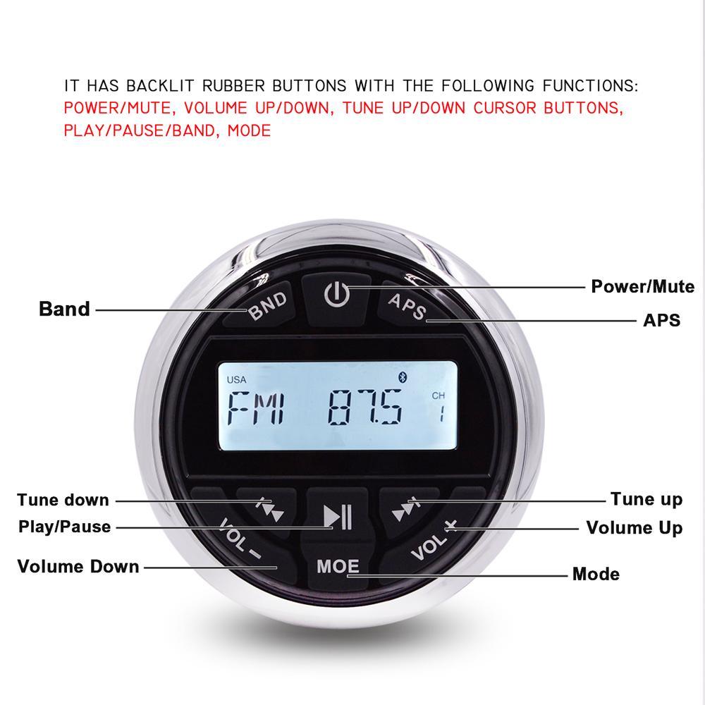 MARINE Wasserdichte Radio Bluetooth Stereo-Audio-Empfänger FM am Auto MP3-Player + Verdrahtete Fernbedienung für ATV UTV Boat Yacht Pool