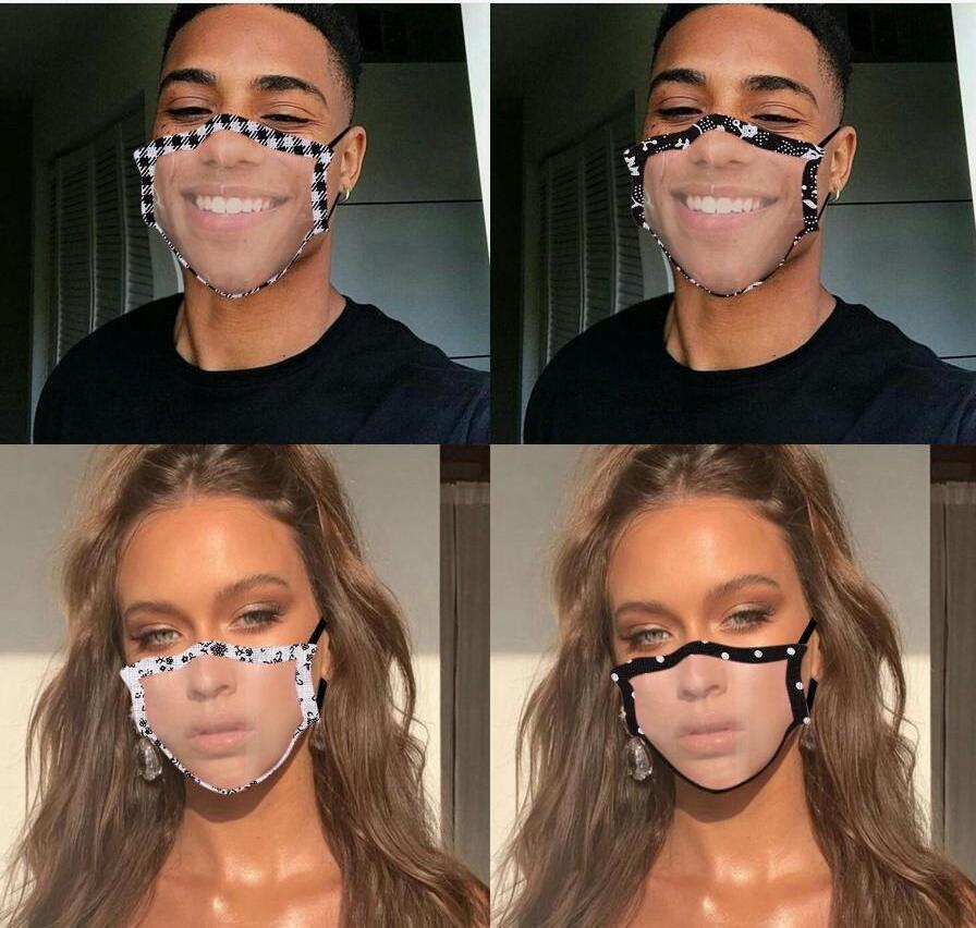 Designer Masken Klar Fenster Lippe Sprache Staubdichte Mode Gesichtsmaske Erwachsene Spitze Blumen Sichtbare Mund Abdeckung GWD1