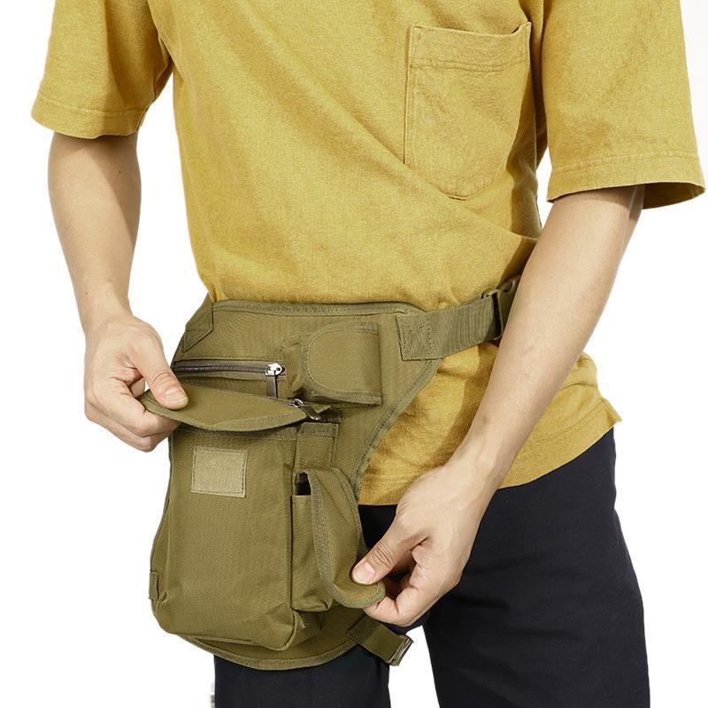 Sacs extérieurs Hommes Toile Drop Bag Jambes Sac Taille Fanny Pack Belt Hip Bum Voyage Montez Montez Multi-usage exécutant unisexe