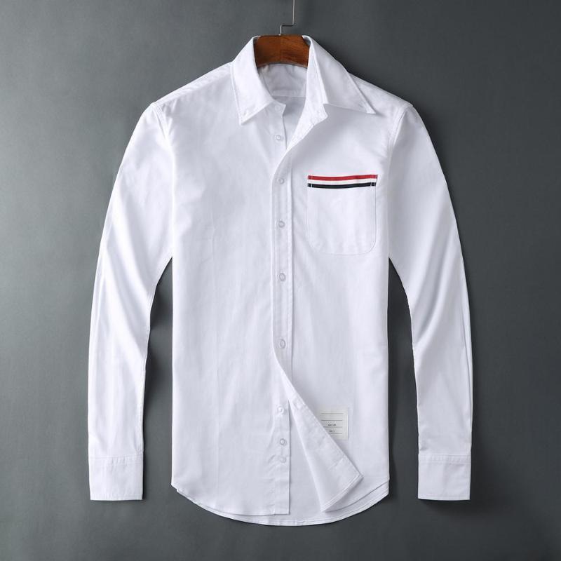 Camicie casual da uomo 19SS Uomo Oxford classico colorato a strisce di moda in cotone camicia di alta qualità tasca a maniche lunghe top m 2xl # M56