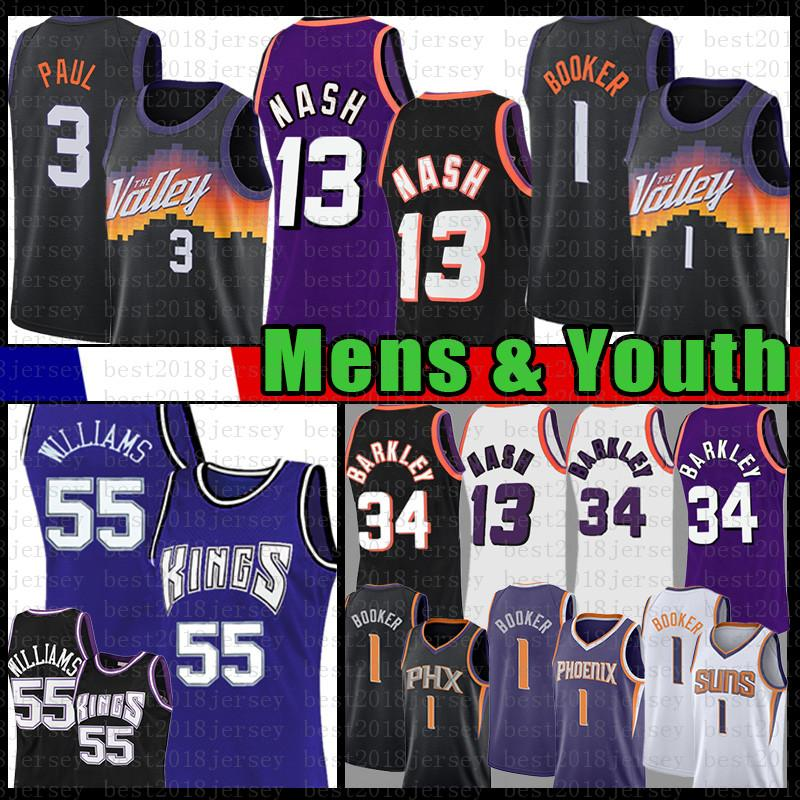 Mens Youth Kids Devin 1 인사 Chris 3 Paul Steve 13 Nash Basketball Jersey Charles 34 Barkley Jason 55 Williams Retro Jerseys 2021 New Mesh