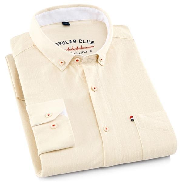 Aoliwen marka erkek rahat uzun kollu gömlek düğmesi aşağı İngiliz akademi tarzı% 80 pamuk rahat renkli C1222