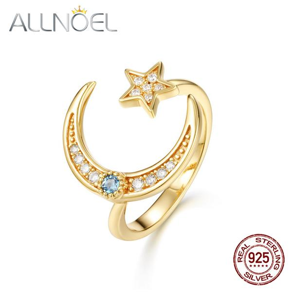 ALLNOEL Dainty Gold S925 Sterling Silver Rings for Women Moon and Star Blue Topaz Open Cuff Ring 2020 New Design Wholesale Y1128