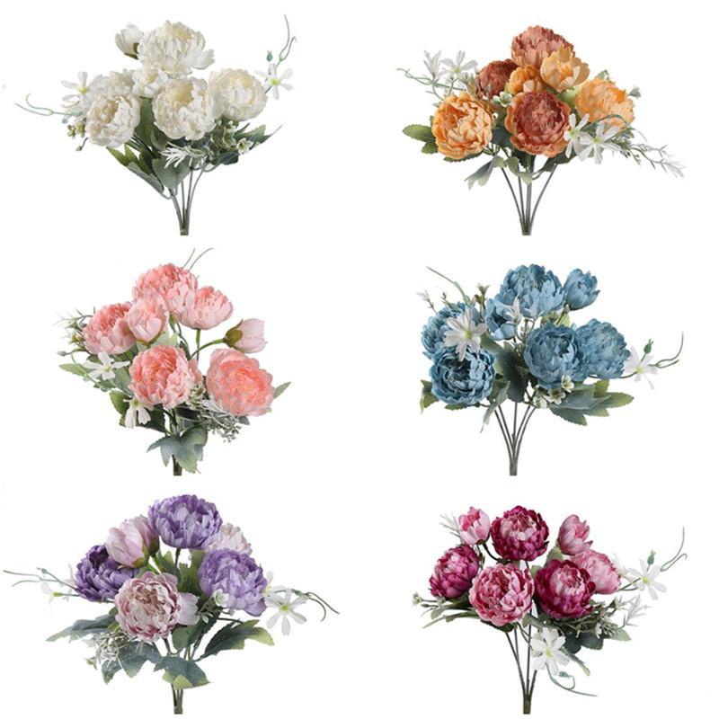 """Gefälschte Herbst-Pfingstrose (7 Köpfe / Stück) 15.83 """"Länge Simulation Kräuter Peonia für Hochzeit Home Dekorative künstliche Blumen"""