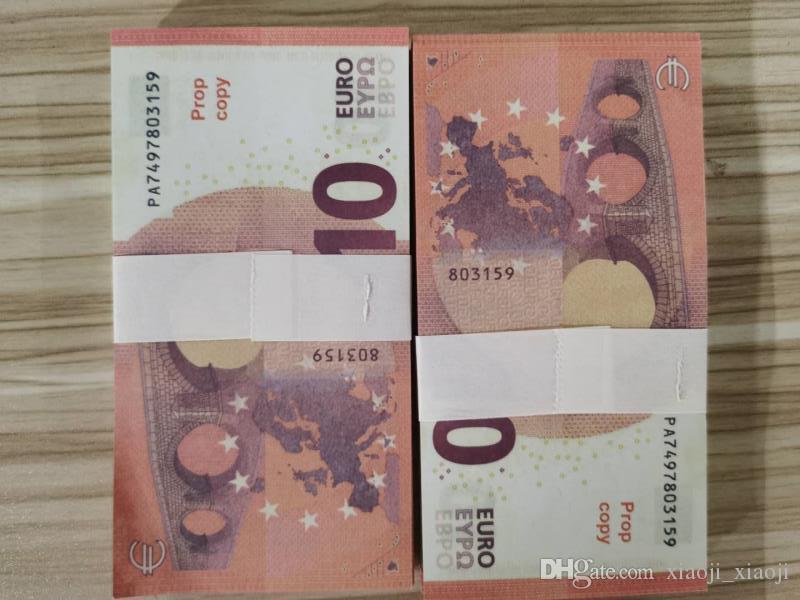 100 unids / pack juego de billetes de banco más o familiar realista EE. UU. / Euro / Dólar Money Copy Kids Paper PROP TOY006 WGXFD
