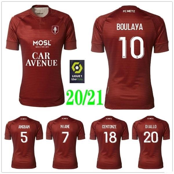 2020 2021 FC METZ Soccer Jerseys DIALLO MAIGA NGUETTE CENTONZE VAGNER NIANE FOFANA Custom Home Red 20 21 METZ Football Shirts Uniforms