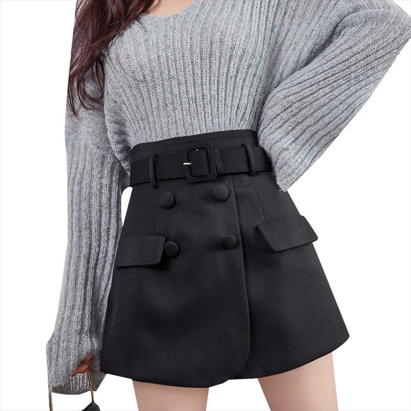 Rétro ceinture shorts femmes haute taille noir faux deux pièces shorts jupes jupes femme plus taille jupe courte mini jupons courts décontractés