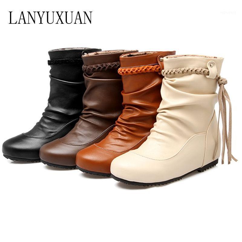 2020 большой размер 30-52 Botas Mujer зимние ботинки новые круглые носки пряжки сапоги для женщин сексуальная лодыжка мода зимняя обувь повседневная 5041