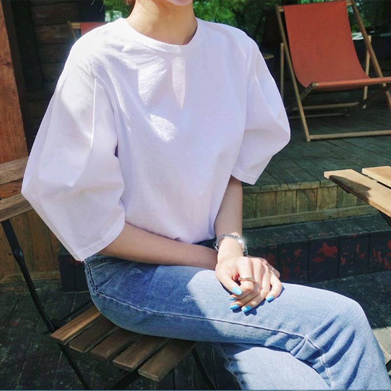 Neue 2020 Sommer T-shirt Frauen Kurzarm Solide Farbe Baumwolle Wild Casual Damen Rundhals-Pluz Größe Tops