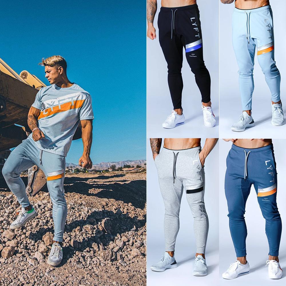 2020 Nova Lyft Dos Desportos Correndo Calças Slim com pés Zipper Casual Calças confortáveis